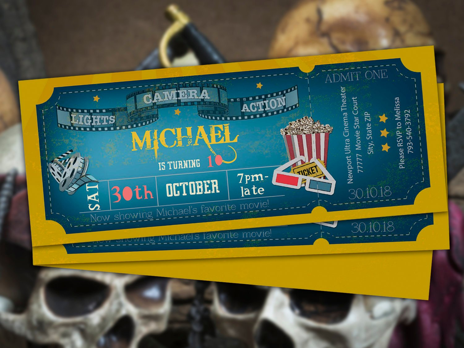 birthday invitation movie ticket example