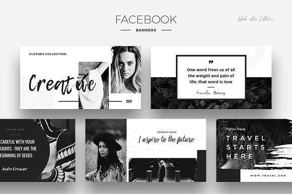 black and white social media banner design example