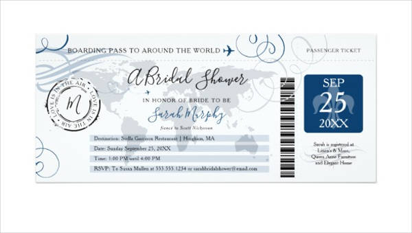 blue bridal shower boarding pass invitation ticket example