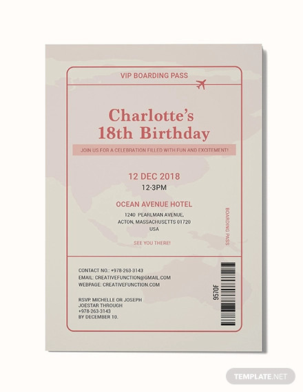 boarding pass invitation example
