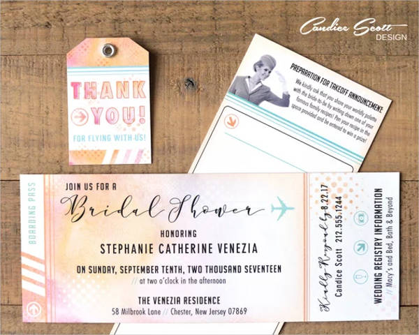 boarding pass invitations suite for bridal shower design example