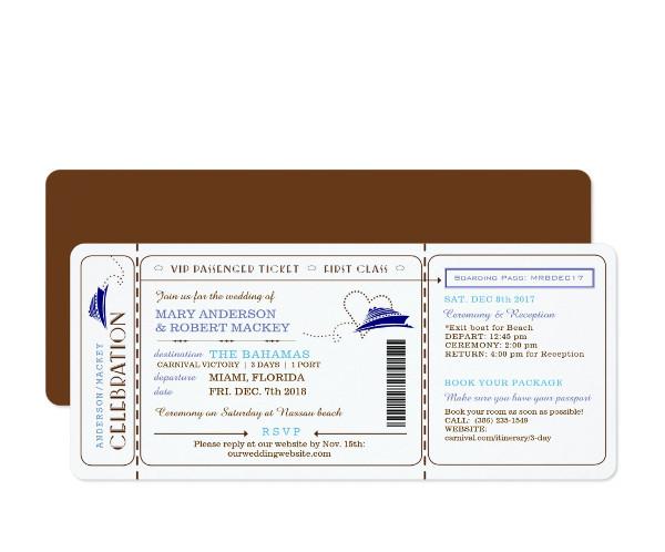 boat boarding pass invitation ticket example