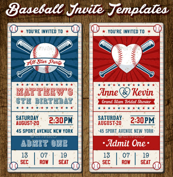 bridal shower birthday baseball invitation ticket example