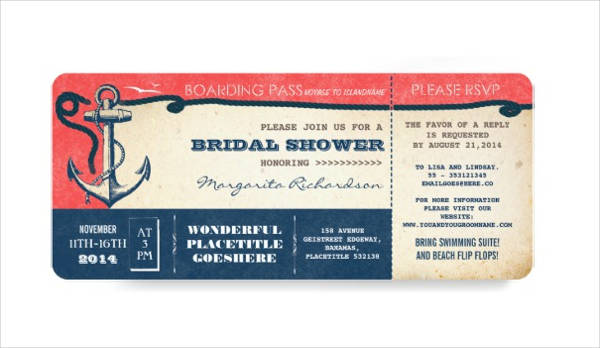 bridal shower boarding pass ticket design example
