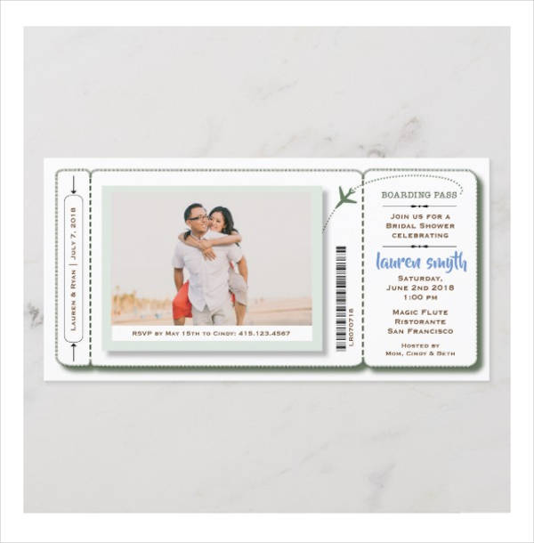bridal shower boarding pass ticket with photo1