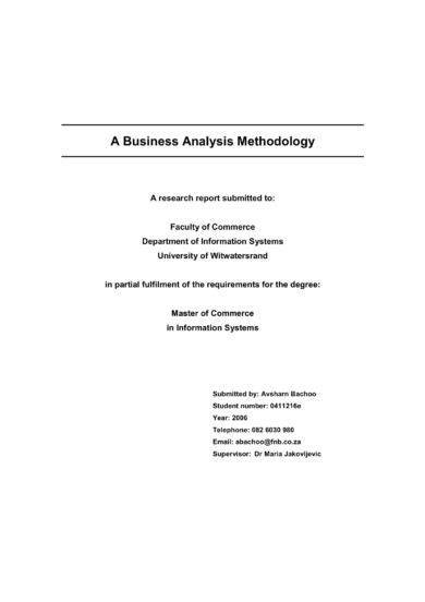 business analysis methodology research report example