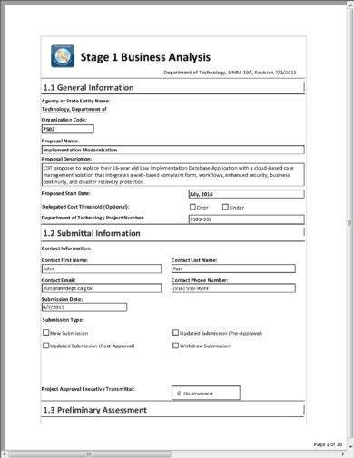 business analysis report form example
