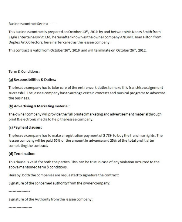9 business management contract examples pdf business contract series contract template example1 cheaphphosting Choice Image