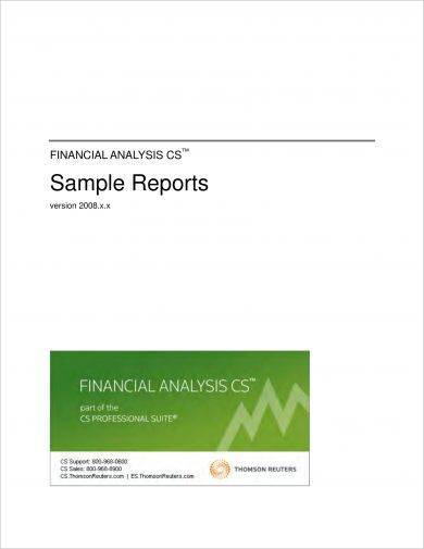 business financial analysis report example