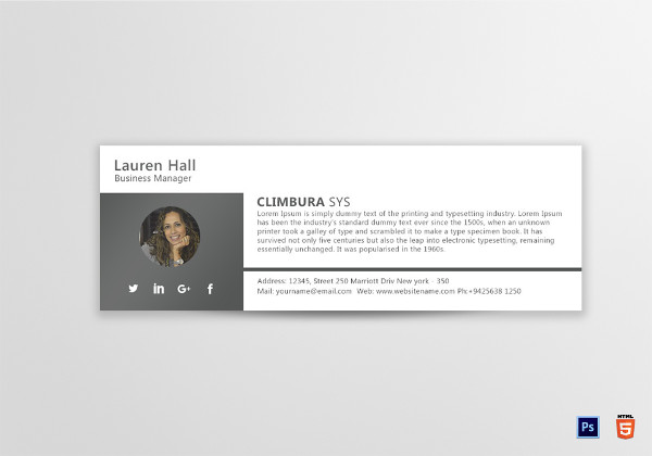 business manager email signature template
