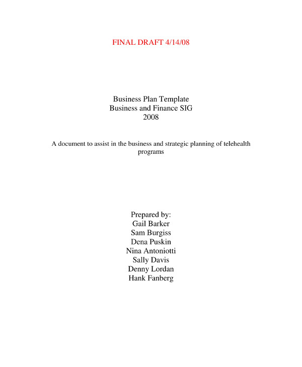 business plan template final draft for financial planning and business management discussion example