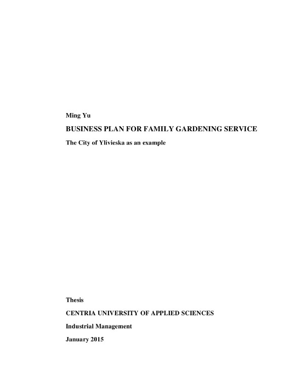 business plan for family gardening service discussion flow example
