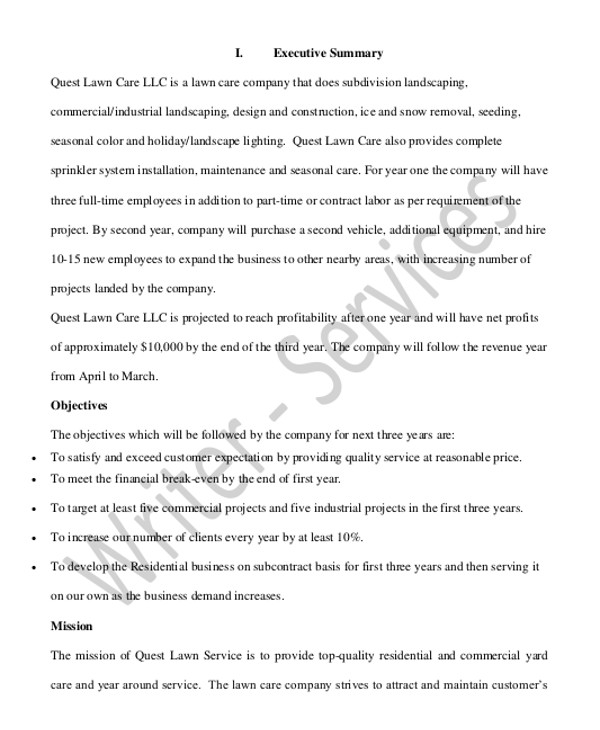 business plan for a lawn care business template example