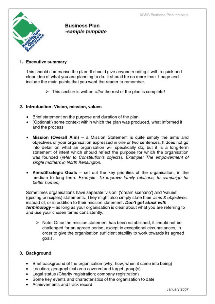 business project plan sample template