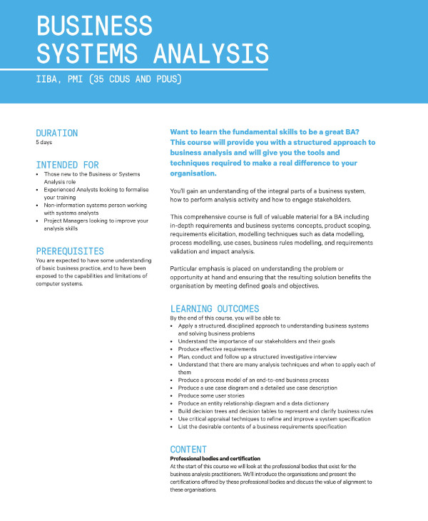 business systems analysis example