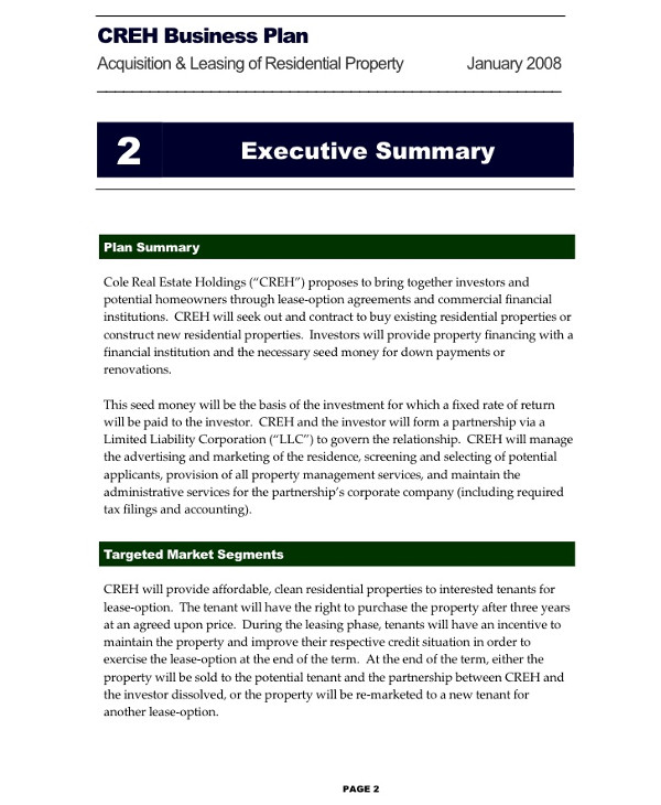 creh business plan for residential property business1