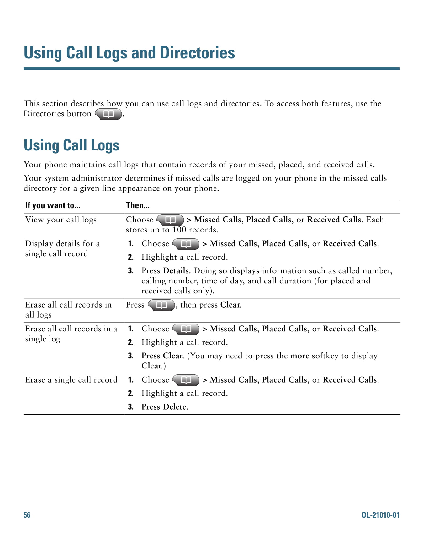 call logs and directories example 1