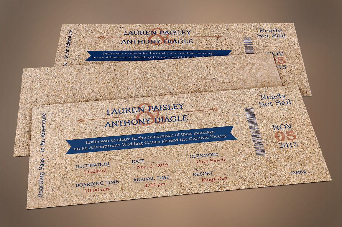 cardboard wedding boarding pass ticket example