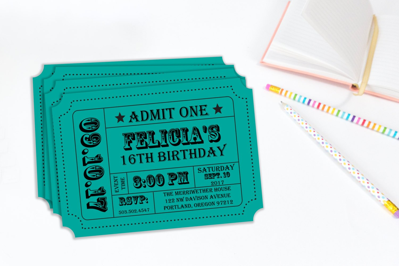 carnival birthday event ticket stub example