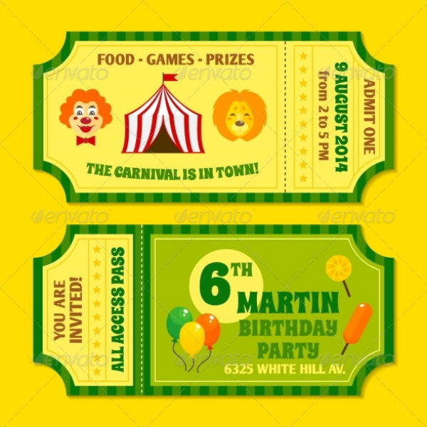 carnival birthday party invitation ticket example