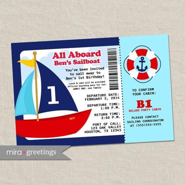cartoon boat boarding pass invitation ticket example1