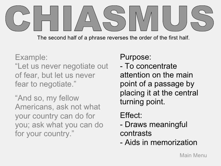 chiasmus examples in literature