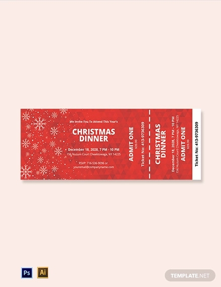 christmas dinner ticket template