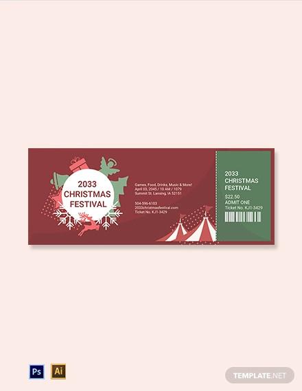 christmas festival ticket template
