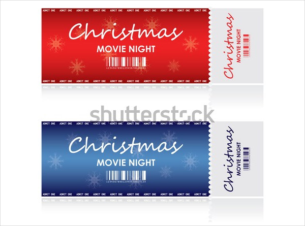 christmas movie night ticket template example1