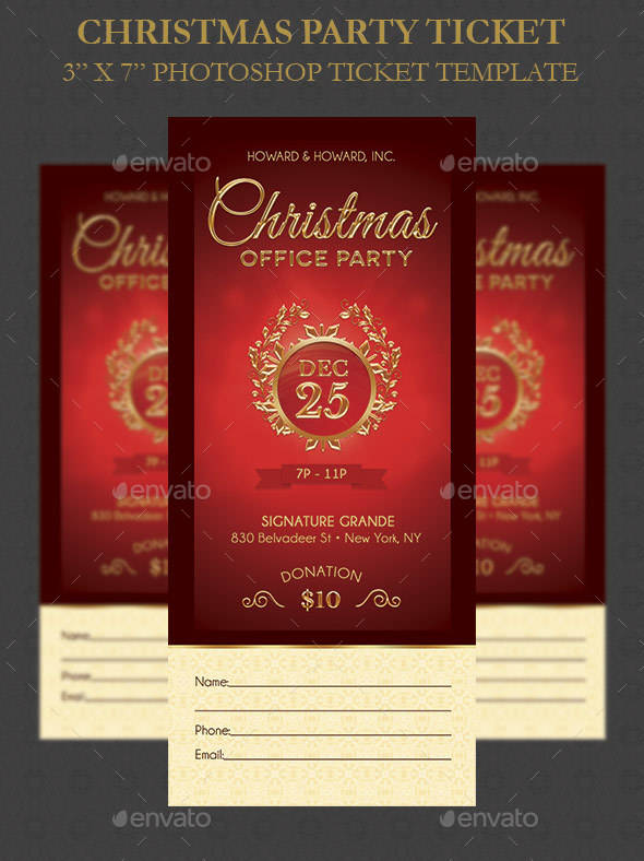christmas party ticket template example