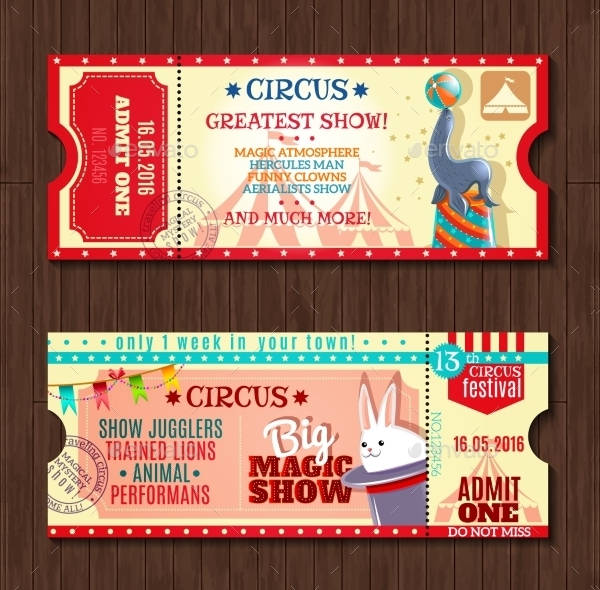 circus show two vintage ticket example