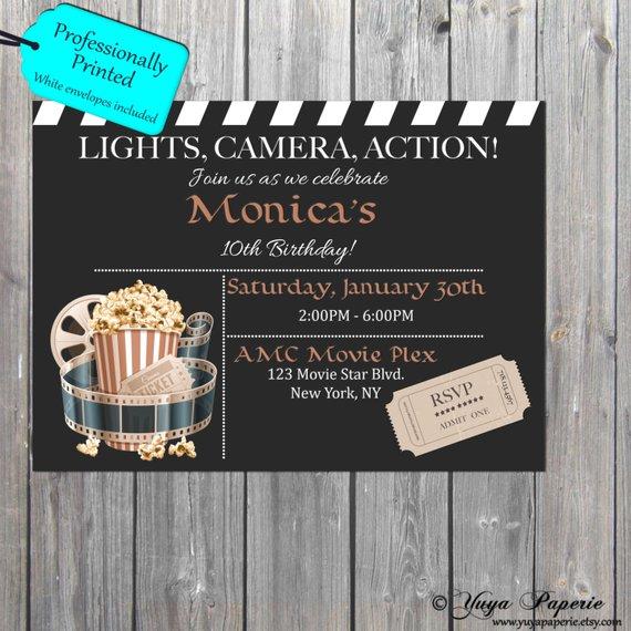 clapboard movie ticket invitation example