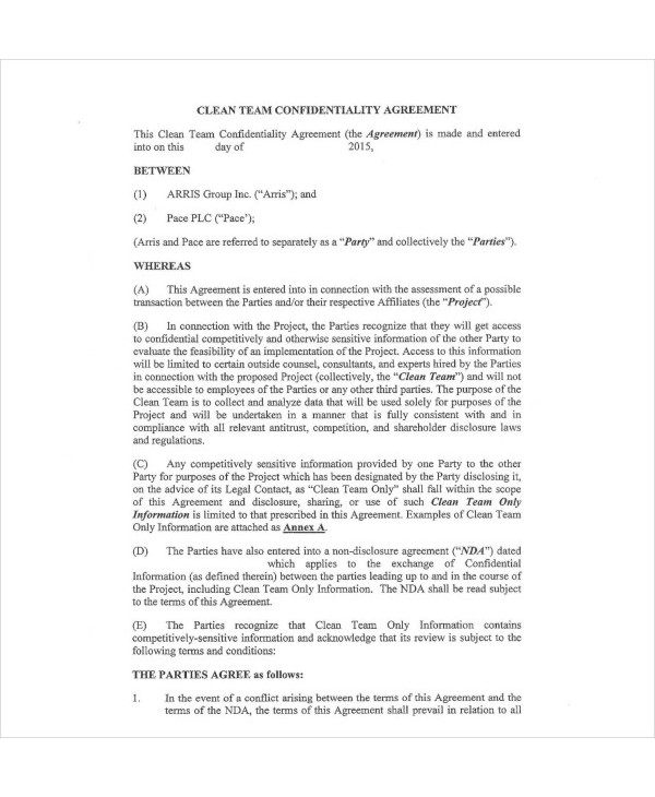clean team agreement example