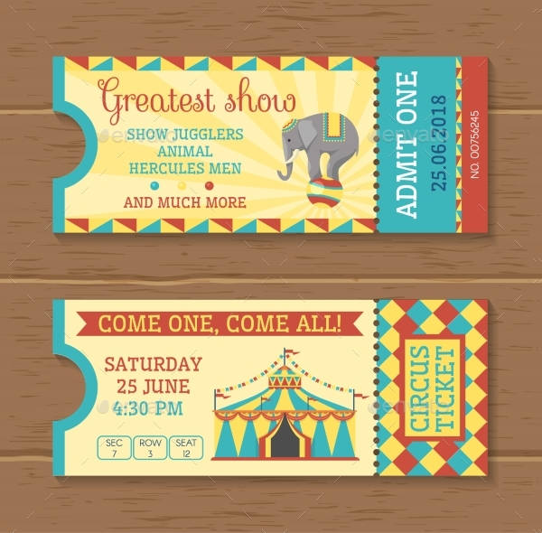 colorful tickets for circus show