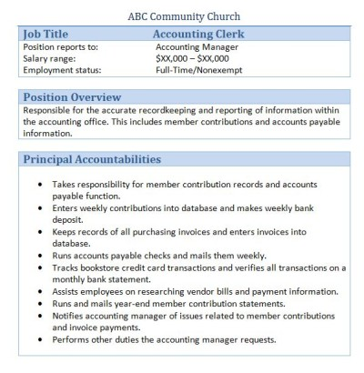 community church job analysis example