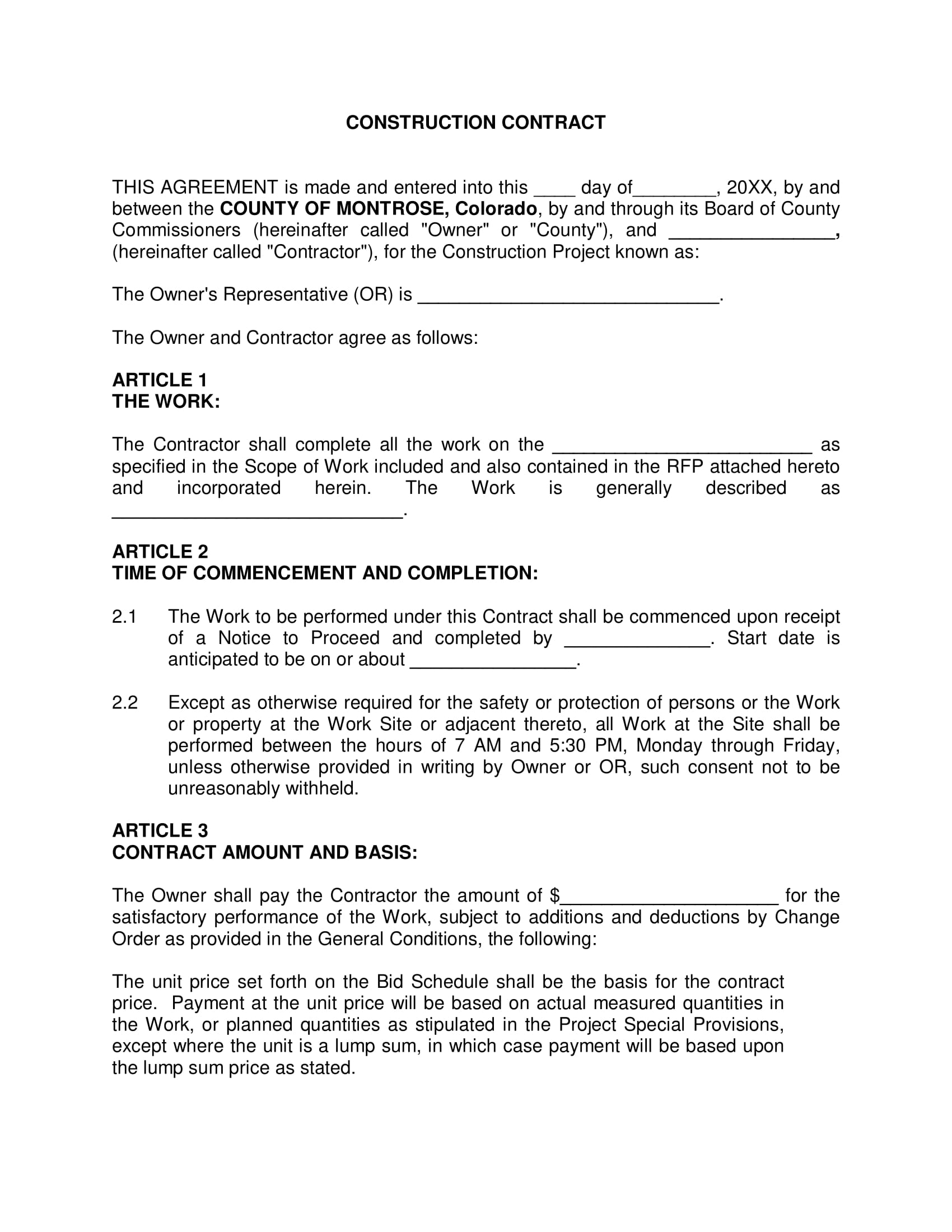 construction contract with electrical agreements template example 01