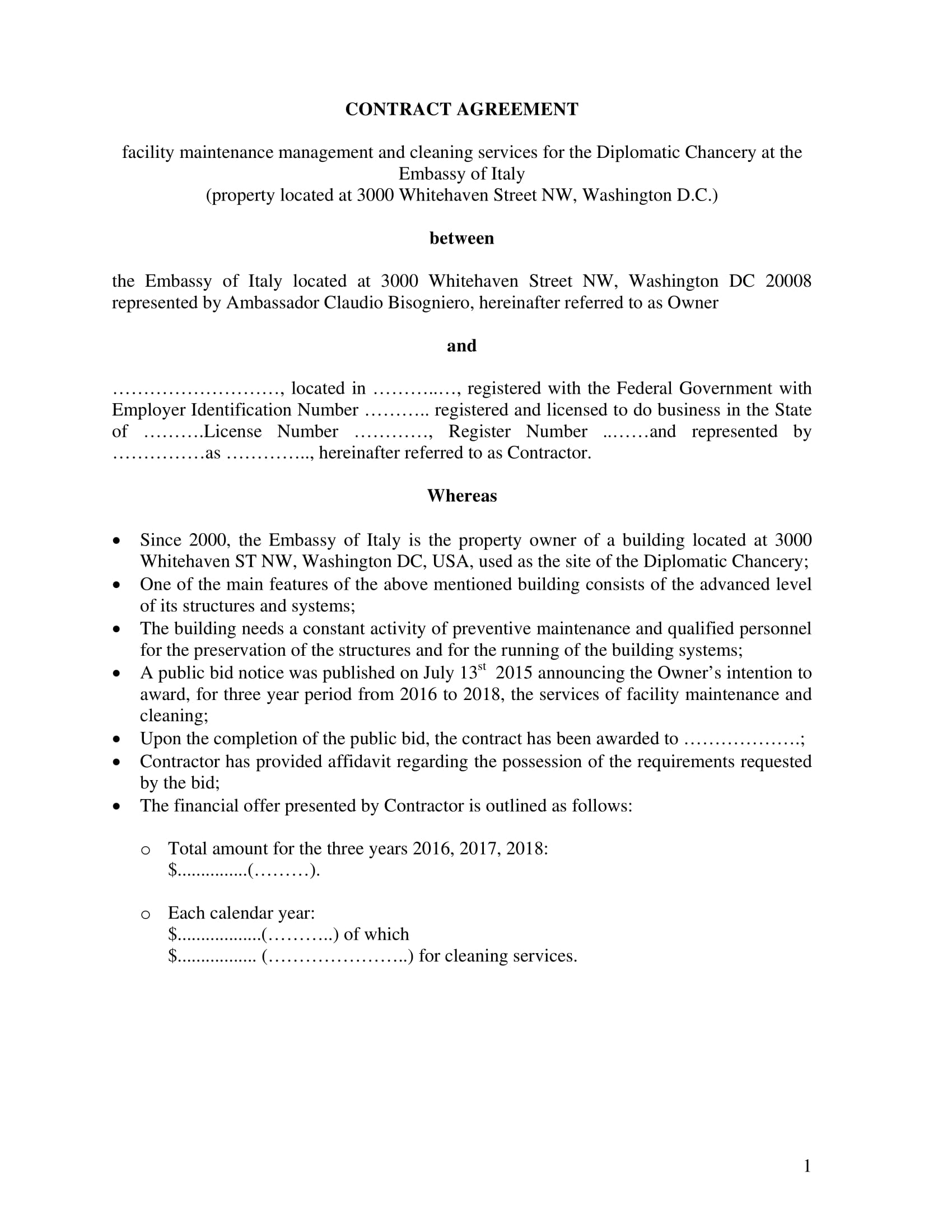 contract agreement for electrical maintenance and other services template example 01