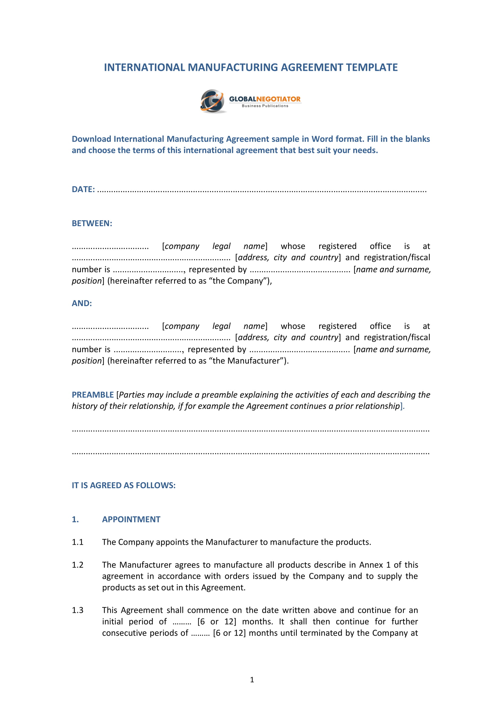 contract agreement for international manufacturing template example 1