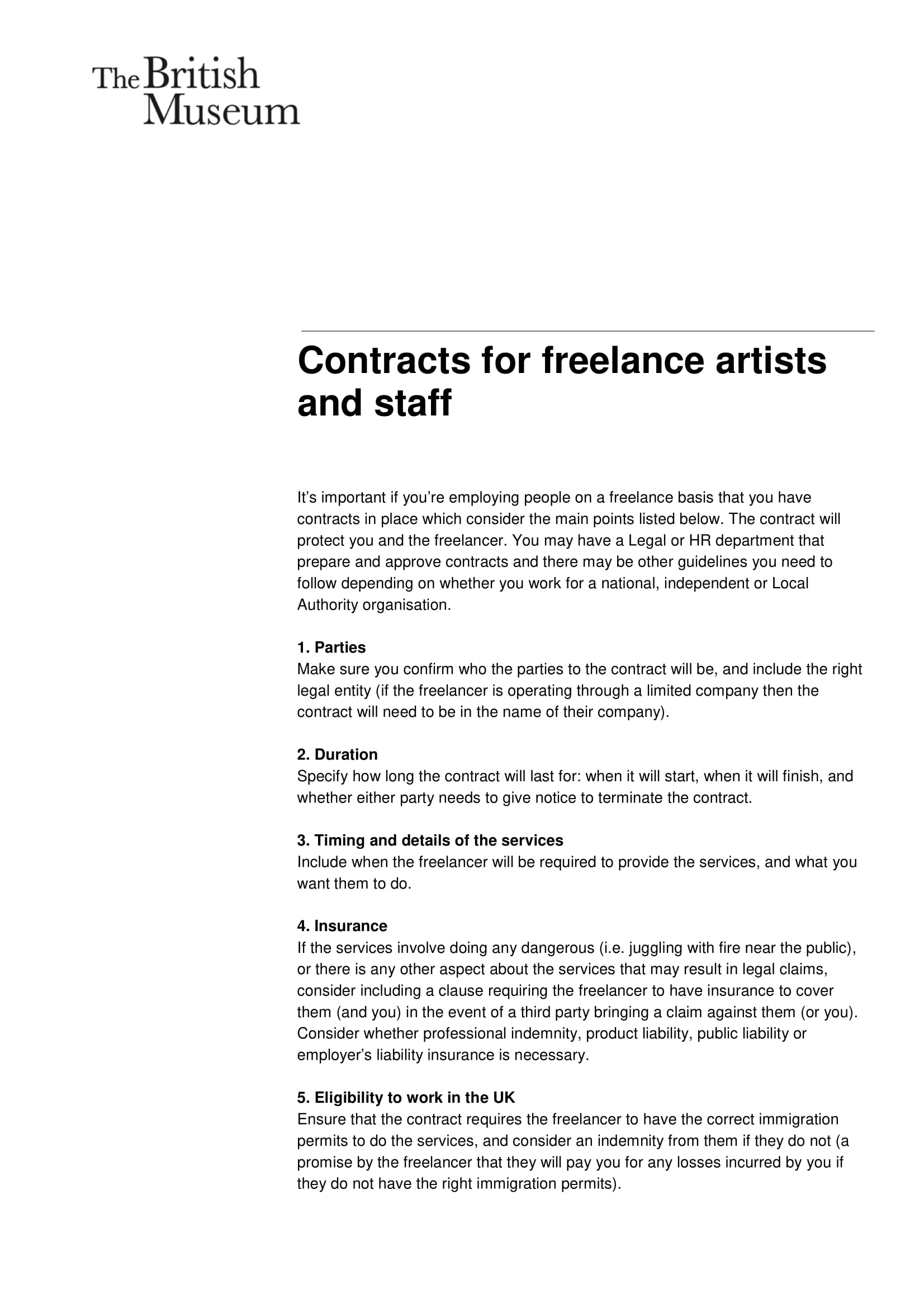 Contract For Freelance Artists Developers And Staff Template Example 1