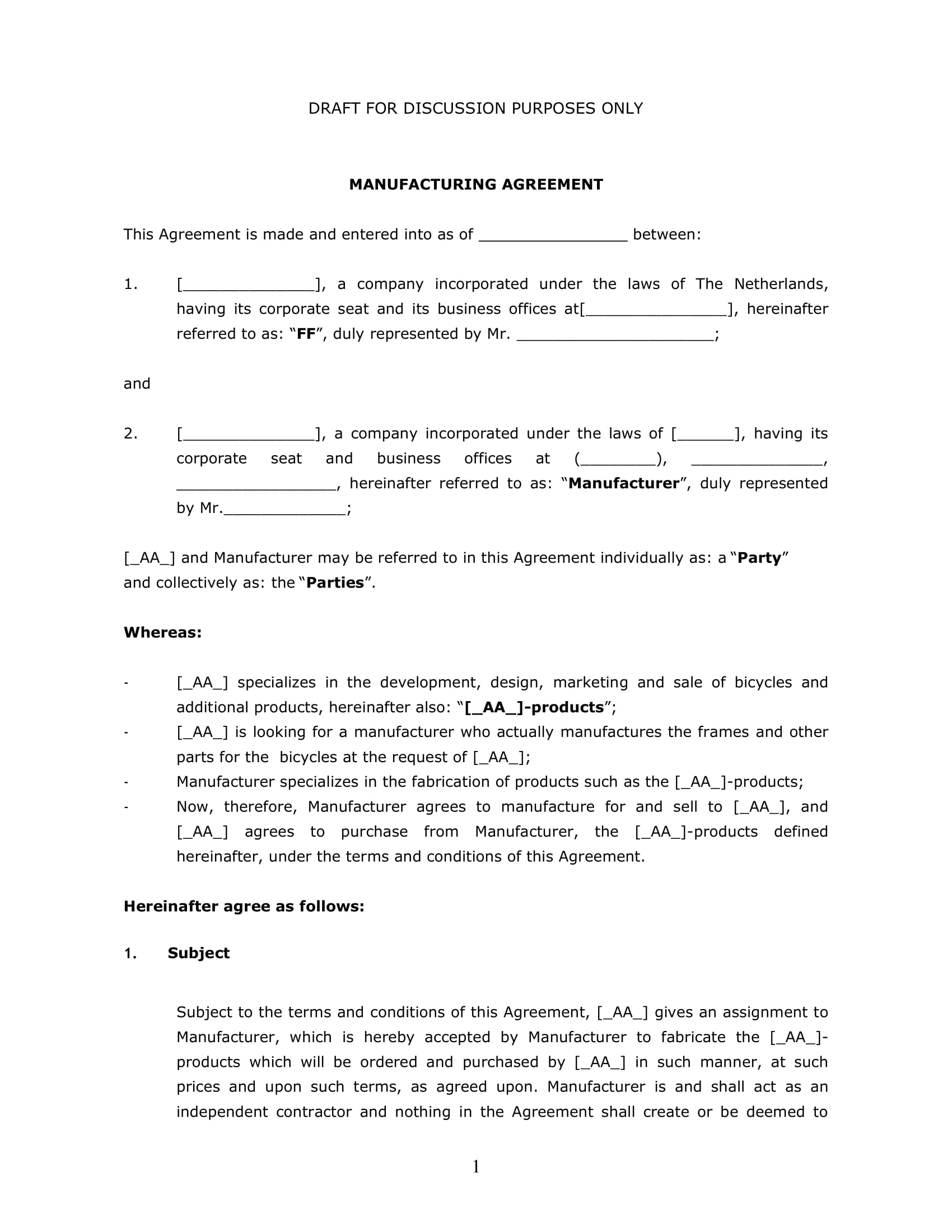 contract manufacturing agreement draft template example 1