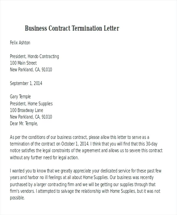 Free termination of service contract letter sample | templates at.
