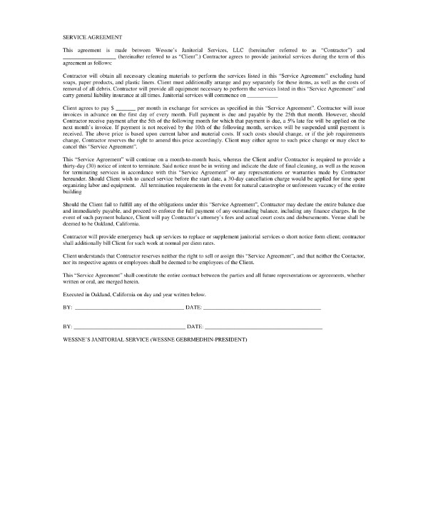 contract for janitorial services agreement guide example