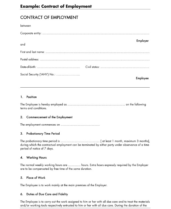 contract of employment for contract workers example1