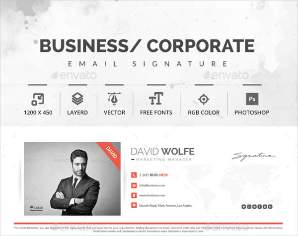 corporate marketing manager email signature design example