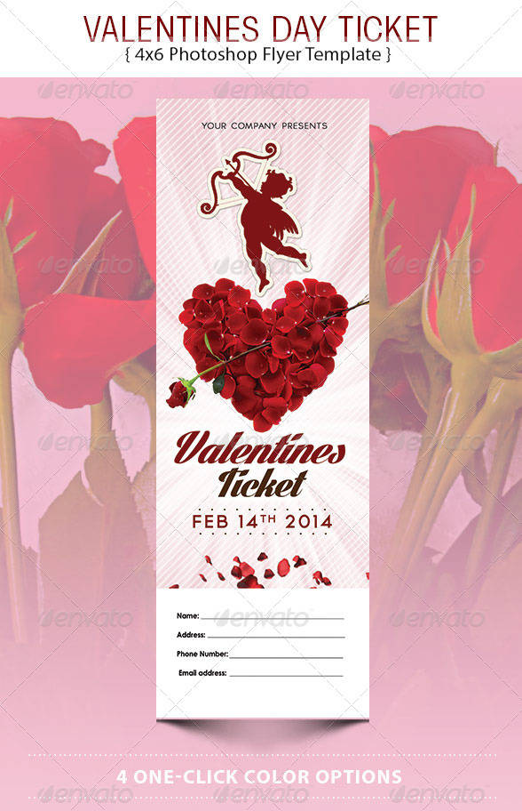 corporate valentines day event ticket example
