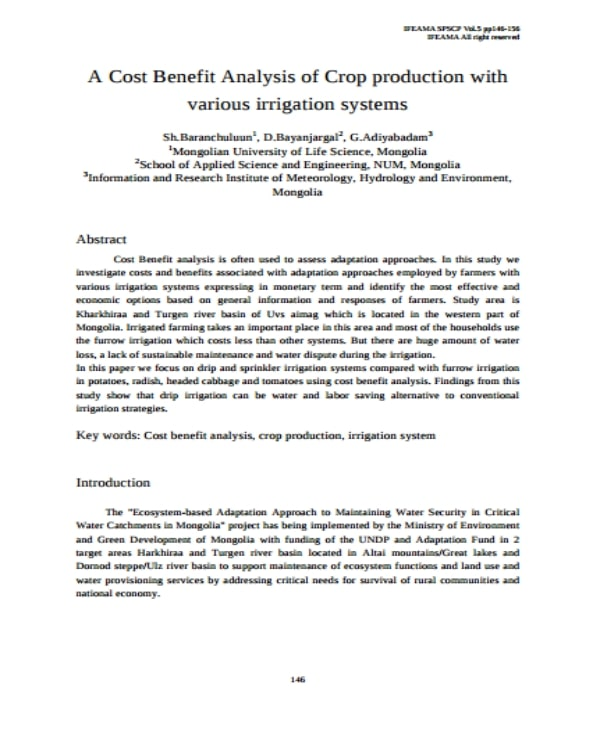 crop production cost benefit analysis example