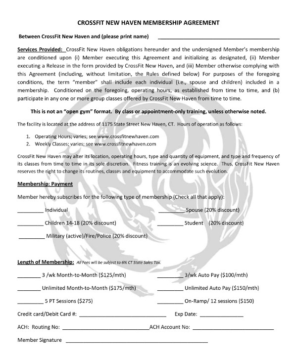 CrossFit Gym Membership Contract Example