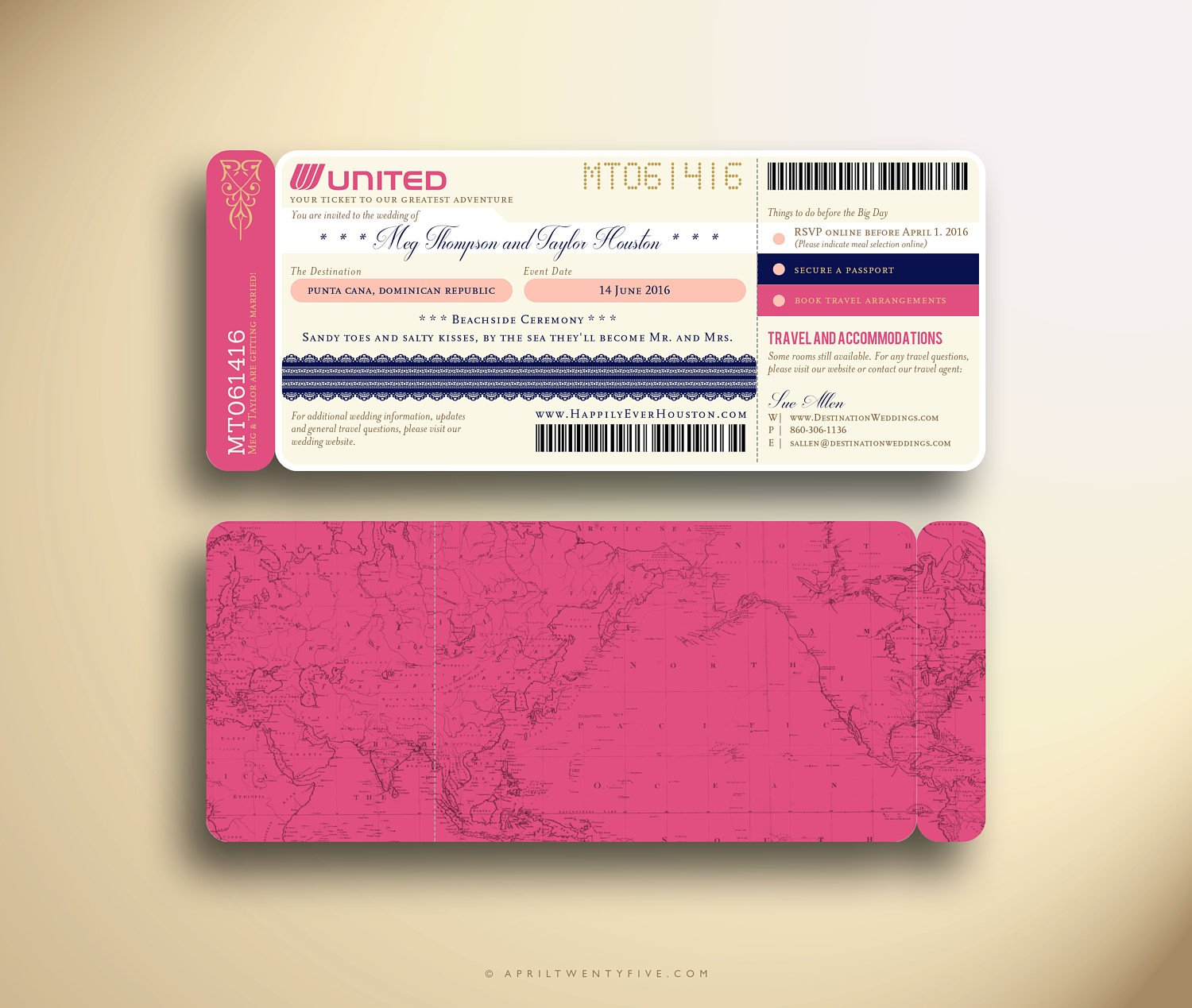 cute wedding ceremony boarding pass ticket example