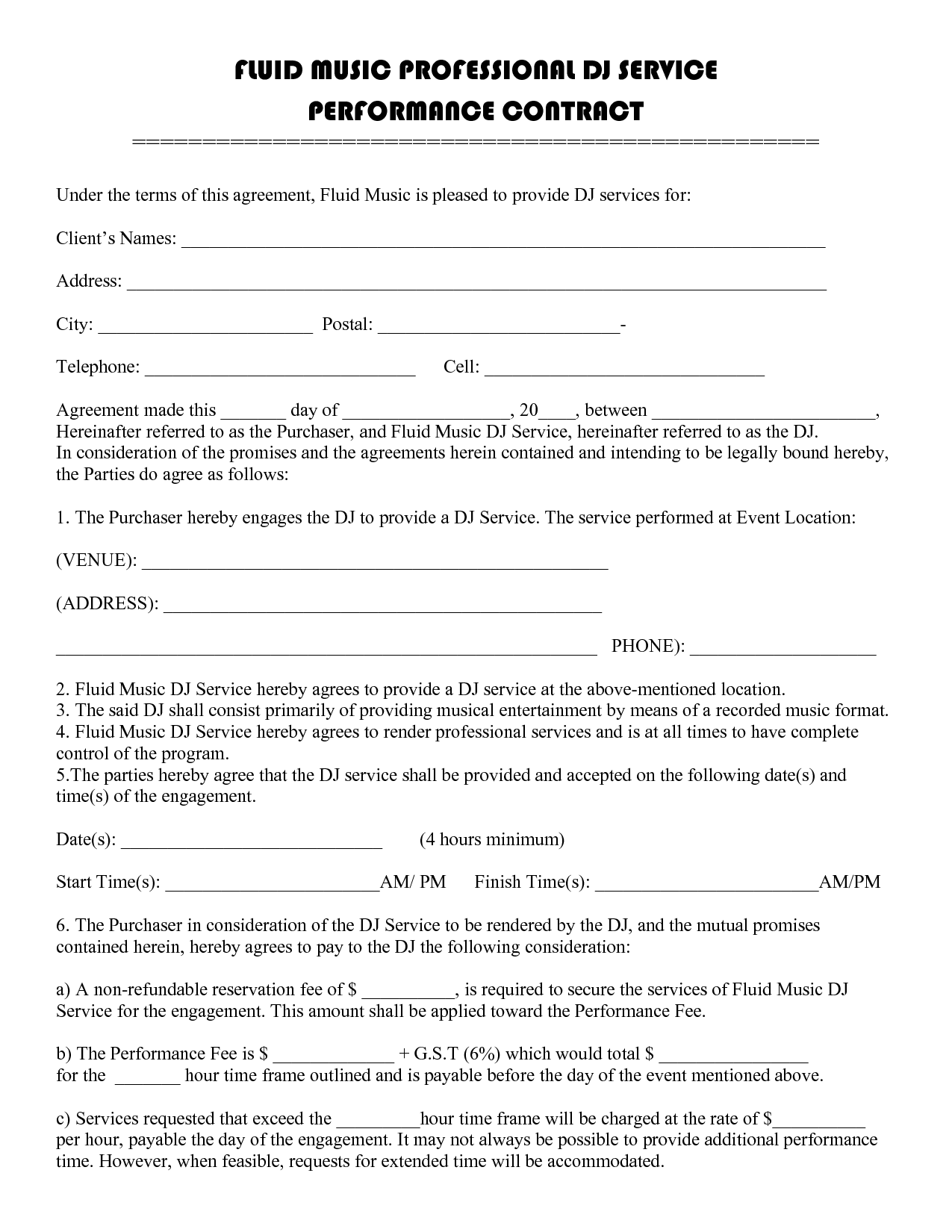 dj service performance contract template
