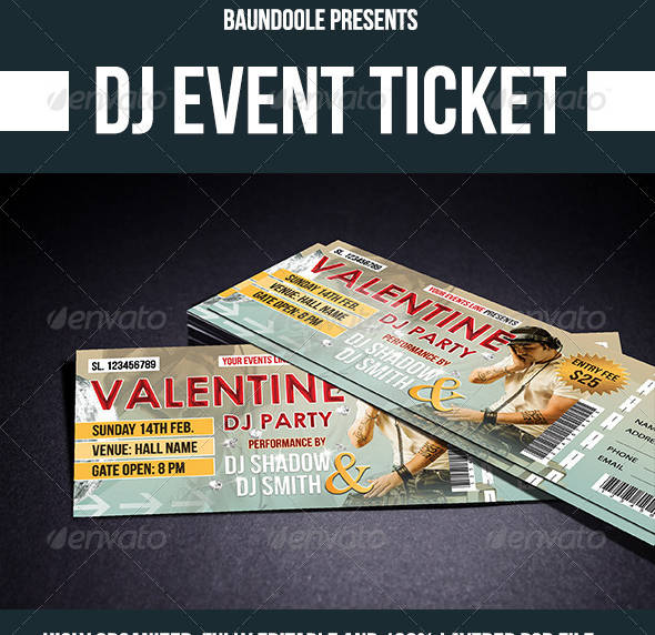 dj valentines event ticket template example